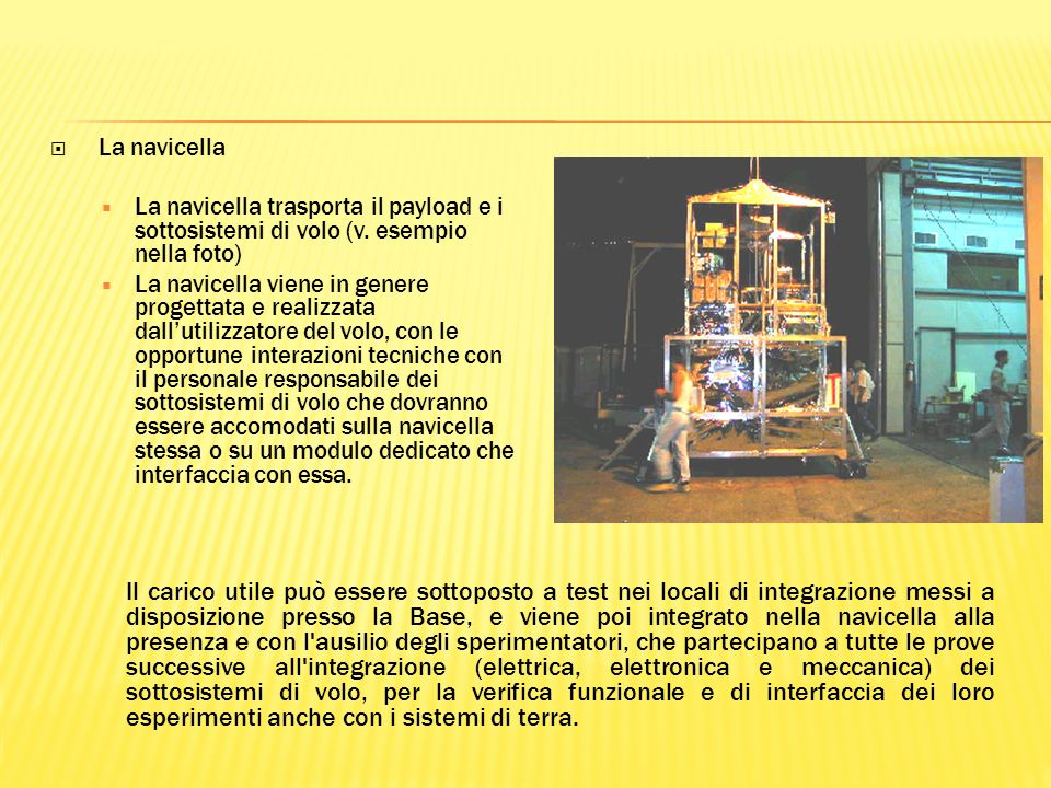 La navicella La navicella trasporta il payload e i sottosistemi di volo (v.