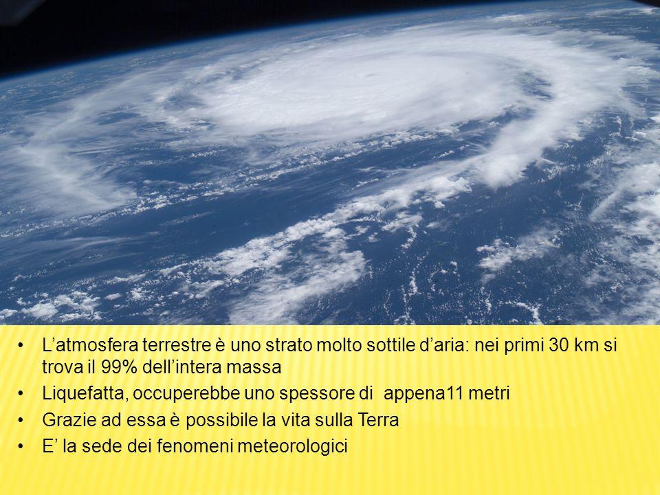 Latmosfera terrestre è uno strato molto sottile daria: nei primi 30 km si trova il 99% dellintera massa Liquefatta, occuperebbe uno spessore di appena11 metri Grazie ad essa è possibile la vita sulla Terra E la sede dei fenomeni meteorologici