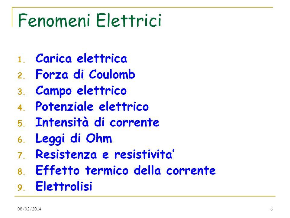 6 Fenomeni Elettrici 1. Carica elettrica 2. Forza di Coulomb 3. Campo elettrico 4. Potenziale elettrico 5. Intensità di corrente 6. Leggi di Ohm 7. Re