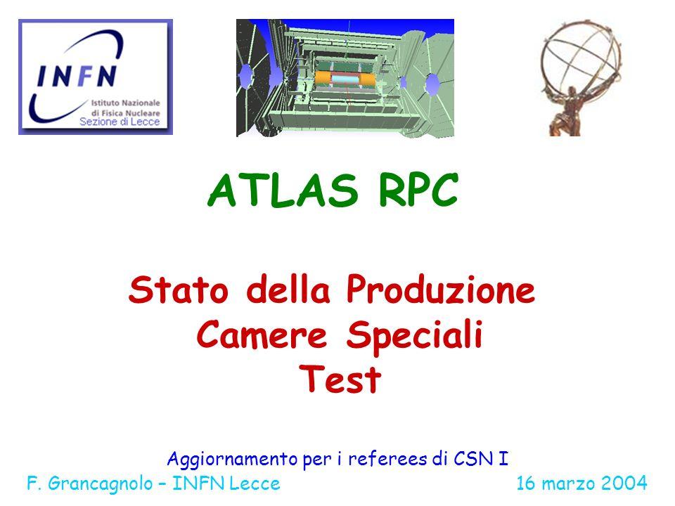 ATLAS RPC Stato della Produzione Camere Speciali Test Aggiornamento per i referees di CSN I F.