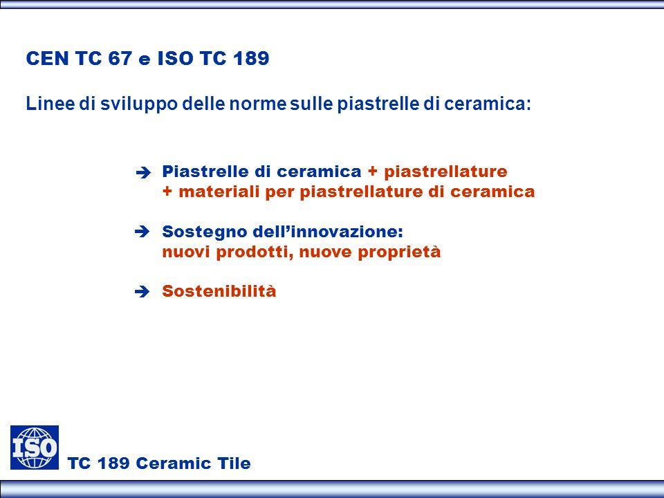 TC 189 Ceramic Tile CEN TC 67 e ISO TC 189 Linee di sviluppo delle norme sulle piastrelle di ceramica: Piastrelle di ceramica + piastrellature + mater
