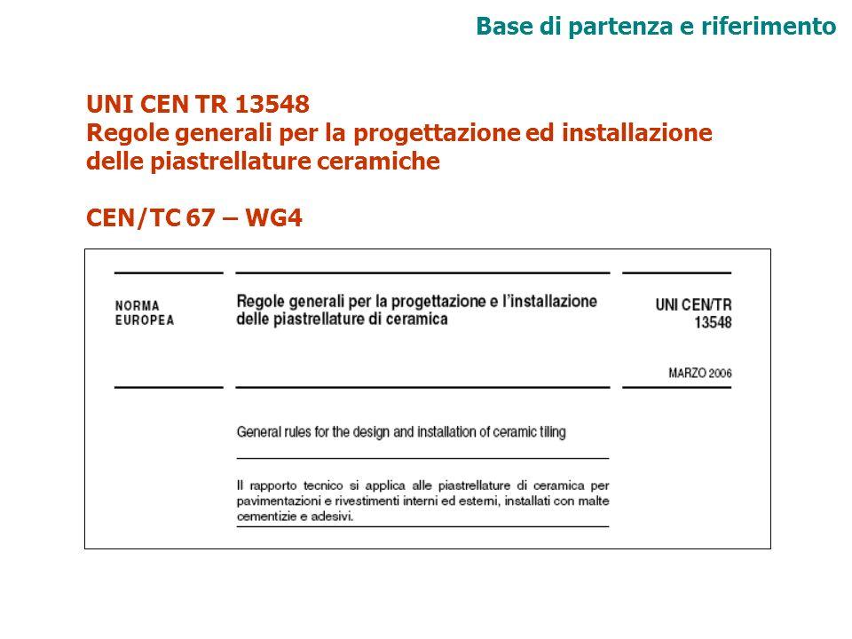 UNI CEN TR 13548 Regole generali per la progettazione ed installazione delle piastrellature ceramiche CEN/TC 67 – WG4 Base di partenza e riferimento