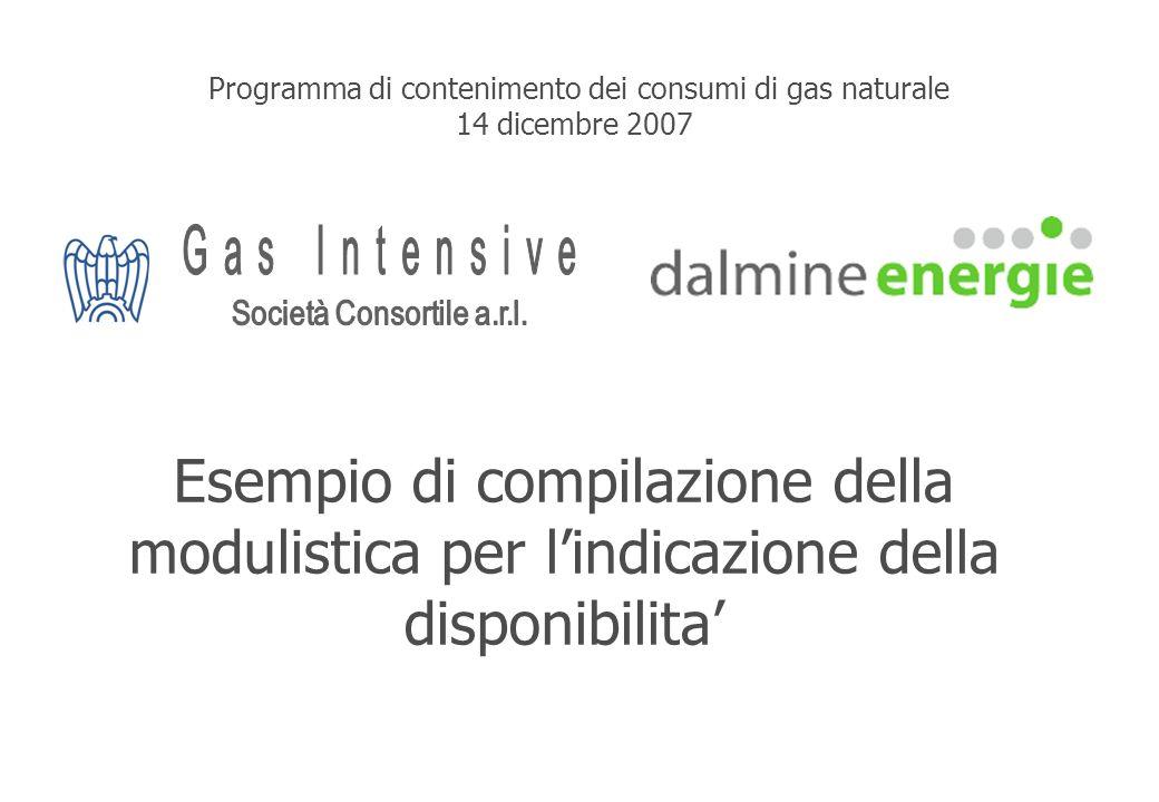 Esempio di compilazione della modulistica per lindicazione della disponibilita Programma di contenimento dei consumi di gas naturale 14 dicembre 2007