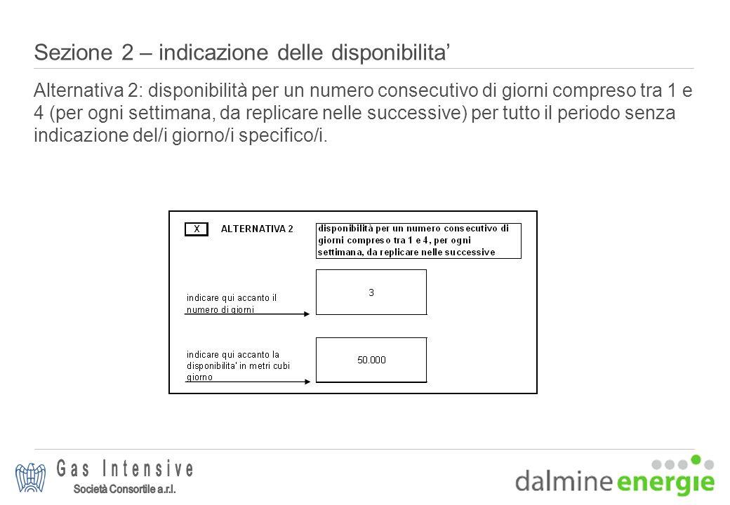 Sezione 2 – indicazione delle disponibilita Alternativa 2: disponibilità per un numero consecutivo di giorni compreso tra 1 e 4 (per ogni settimana, d