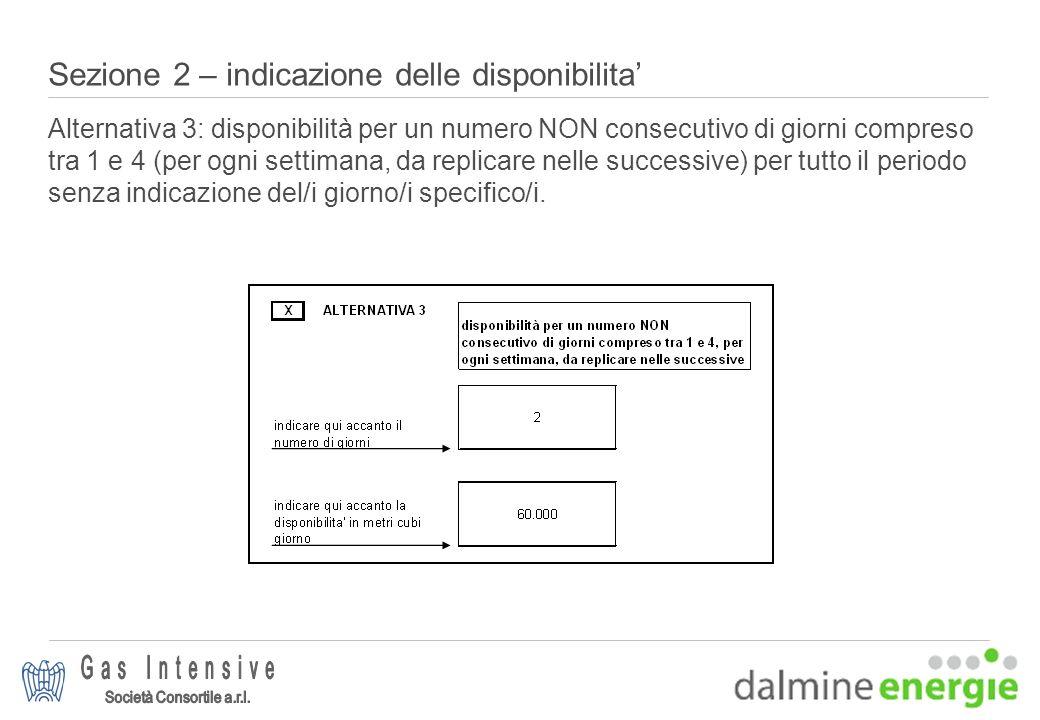 Sezione 2 – indicazione delle disponibilita Alternativa 3: disponibilità per un numero NON consecutivo di giorni compreso tra 1 e 4 (per ogni settiman