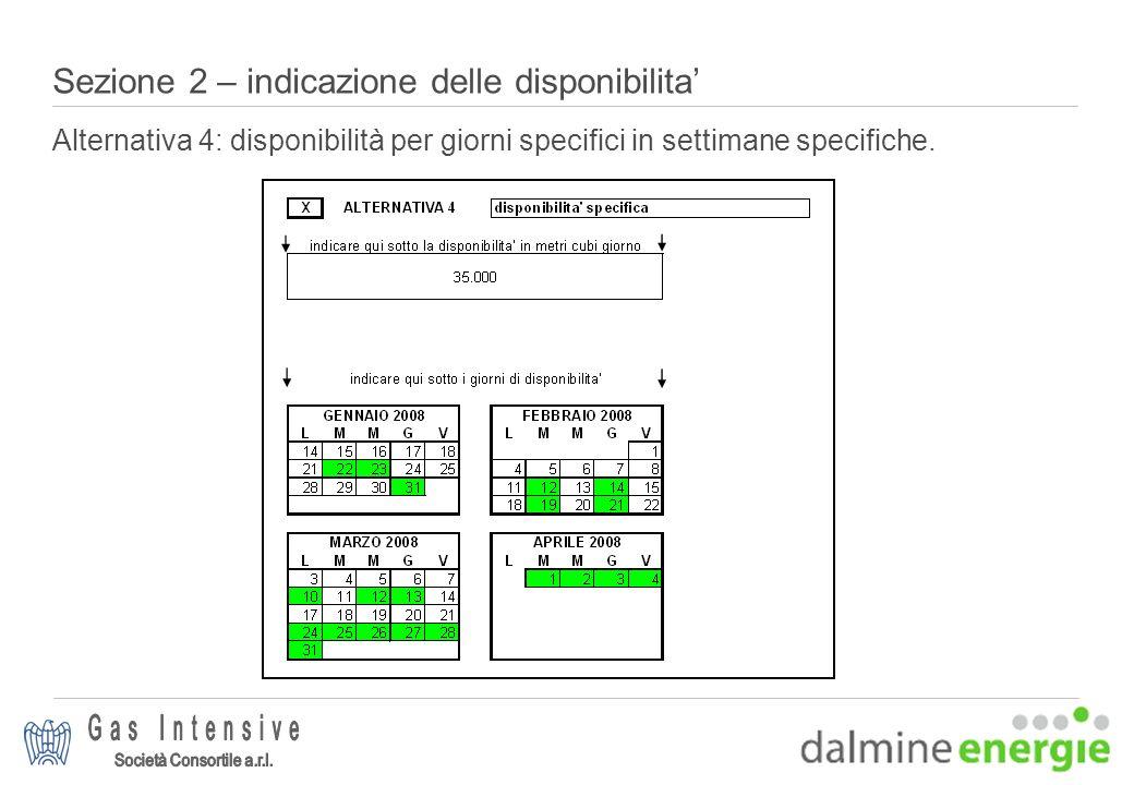 Sezione 2 – indicazione delle disponibilita Alternativa 4: disponibilità per giorni specifici in settimane specifiche.