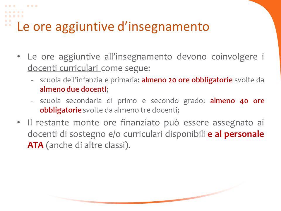 Le ore aggiuntive dinsegnamento Le ore aggiuntive allinsegnamento devono coinvolgere i docenti curriculari come segue: - scuola dellinfanzia e primari