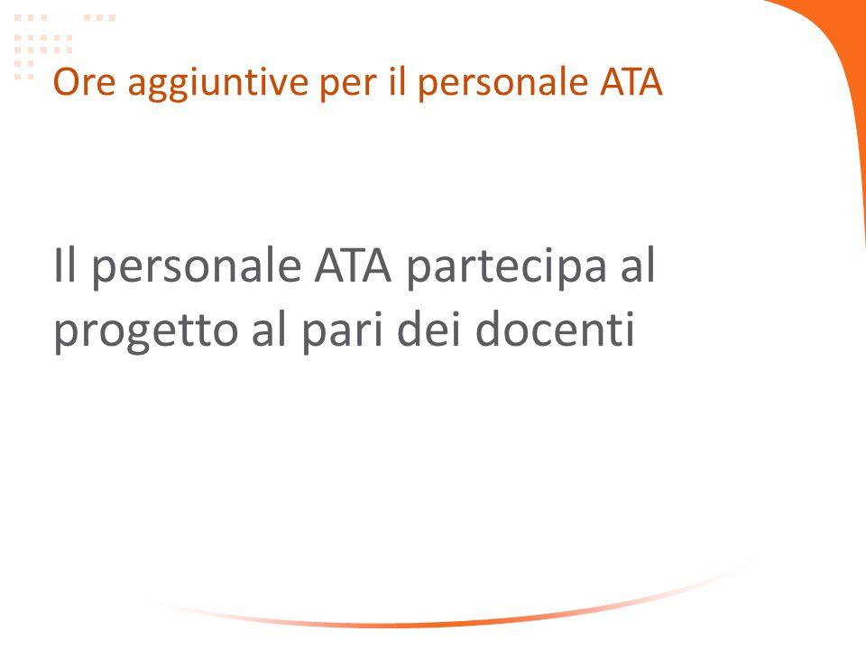 Ore aggiuntive per il personale ATA Il personale ATA partecipa al progetto al pari dei docenti
