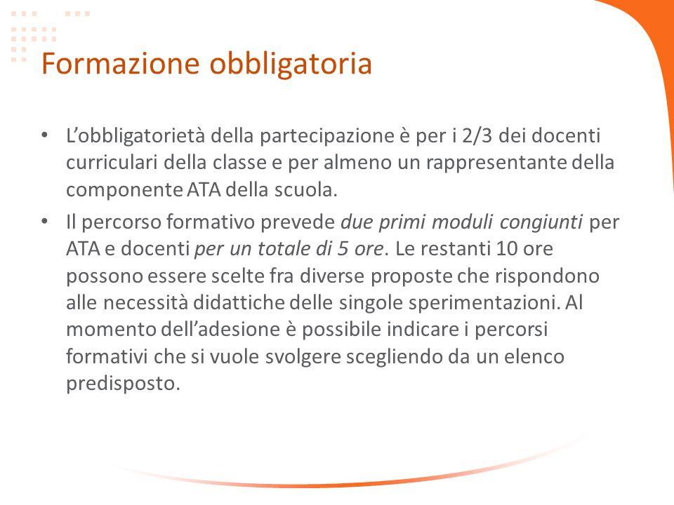 Formazione obbligatoria Lobbligatorietà della partecipazione è per i 2/3 dei docenti curriculari della classe e per almeno un rappresentante della componente ATA della scuola.