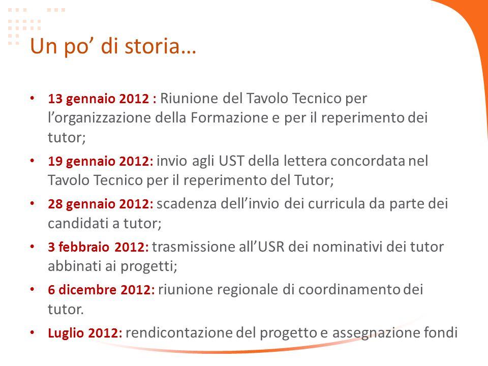 Un po di storia… 13 gennaio 2012 : Riunione del Tavolo Tecnico per lorganizzazione della Formazione e per il reperimento dei tutor; 19 gennaio 2012: i