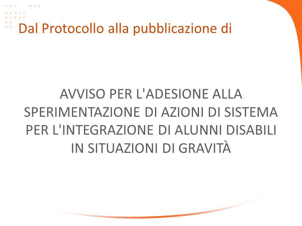 Dal Protocollo alla pubblicazione di AVVISO PER L'ADESIONE ALLA SPERIMENTAZIONE DI AZIONI DI SISTEMA PER L'INTEGRAZIONE DI ALUNNI DISABILI IN SITUAZIO