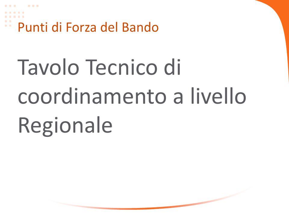 Punti di Forza del Bando Tavolo Tecnico di coordinamento a livello Regionale