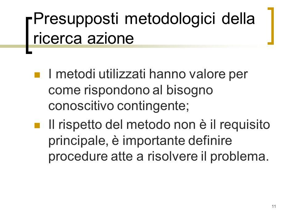 11 Presupposti metodologici della ricerca azione I metodi utilizzati hanno valore per come rispondono al bisogno conoscitivo contingente; Il rispetto
