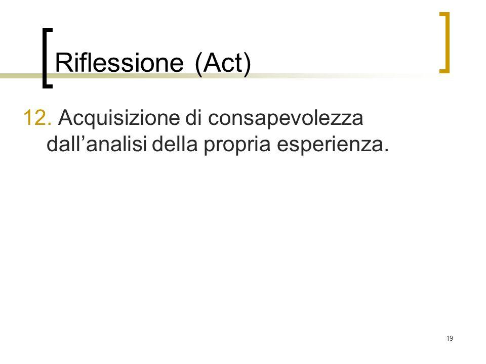 19 Riflessione (Act) 12. Acquisizione di consapevolezza dallanalisi della propria esperienza.