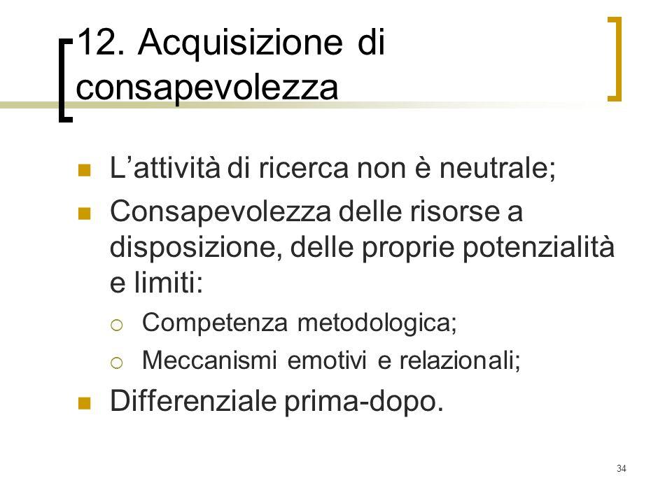 34 12. Acquisizione di consapevolezza Lattività di ricerca non è neutrale; Consapevolezza delle risorse a disposizione, delle proprie potenzialità e l
