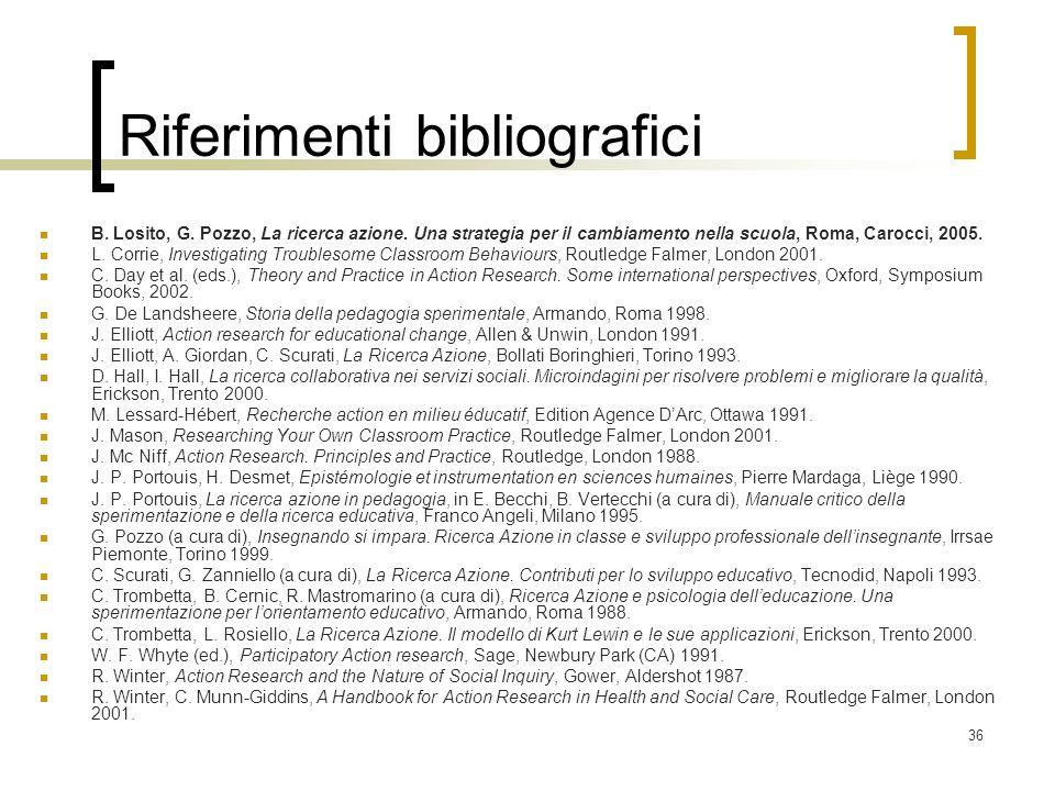 36 Riferimenti bibliografici B. Losito, G. Pozzo, La ricerca azione. Una strategia per il cambiamento nella scuola, Roma, Carocci, 2005. L. Corrie, In