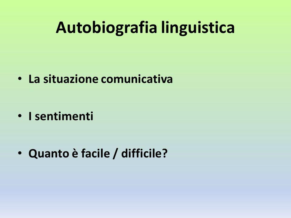 Autobiografia linguistica La situazione comunicativa I sentimenti Quanto è facile / difficile?