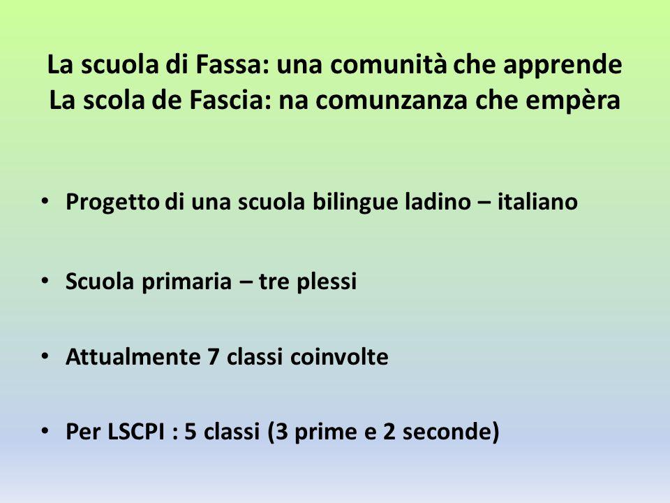 La scuola di Fassa: una comunità che apprende La scola de Fascia: na comunzanza che empèra Progetto di una scuola bilingue ladino – italiano Scuola primaria – tre plessi Attualmente 7 classi coinvolte Per LSCPI : 5 classi (3 prime e 2 seconde)