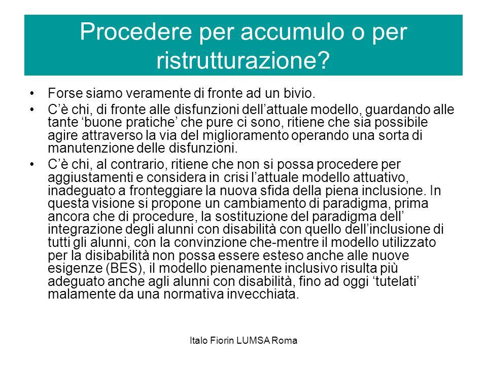 Italo Fiorin LUMSA Roma Procedere per accumulo o per ristrutturazione? Forse siamo veramente di fronte ad un bivio. Cè chi, di fronte alle disfunzioni
