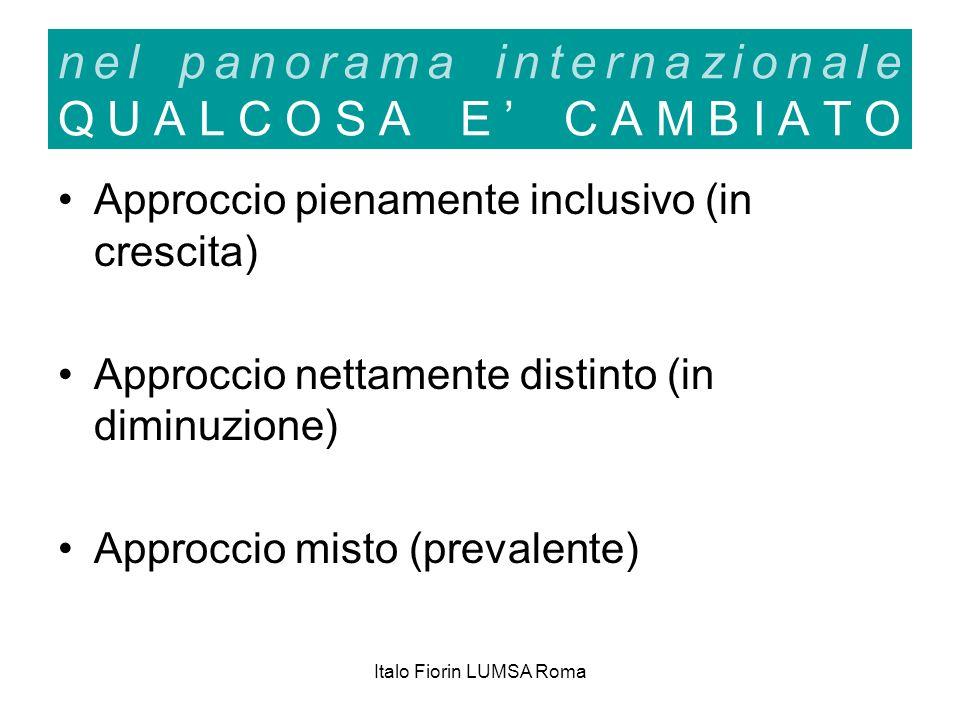 Italo Fiorin LUMSA Roma nel panorama internazionale QUALCOSA E CAMBIATO Approccio pienamente inclusivo (in crescita) Approccio nettamente distinto (in diminuzione) Approccio misto (prevalente)