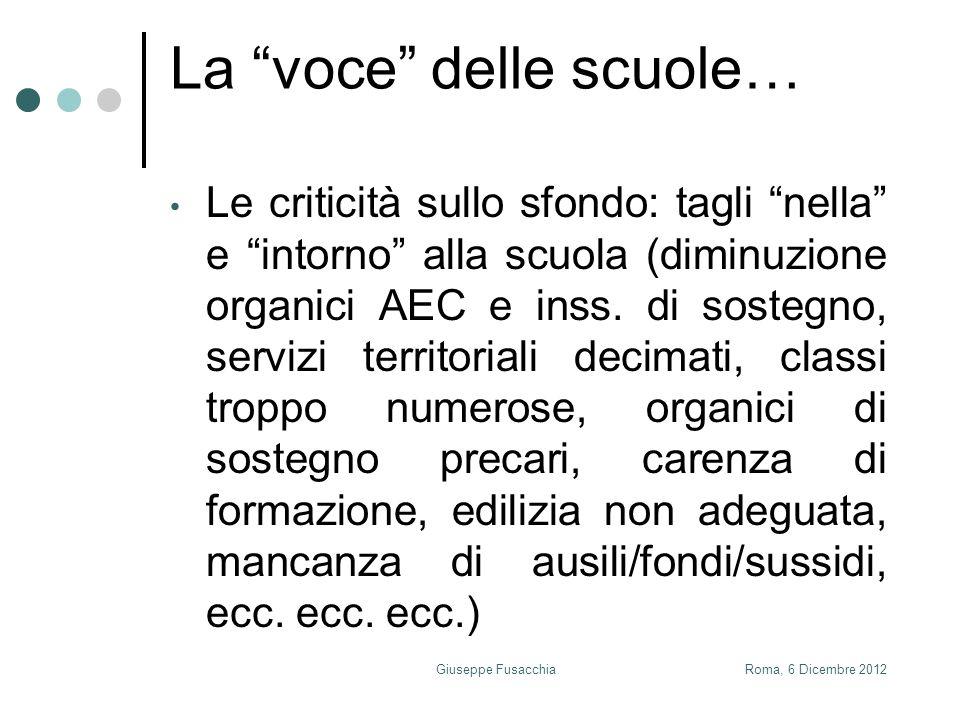 La voce delle scuole… Le criticità sullo sfondo: tagli nella e intorno alla scuola (diminuzione organici AEC e inss.