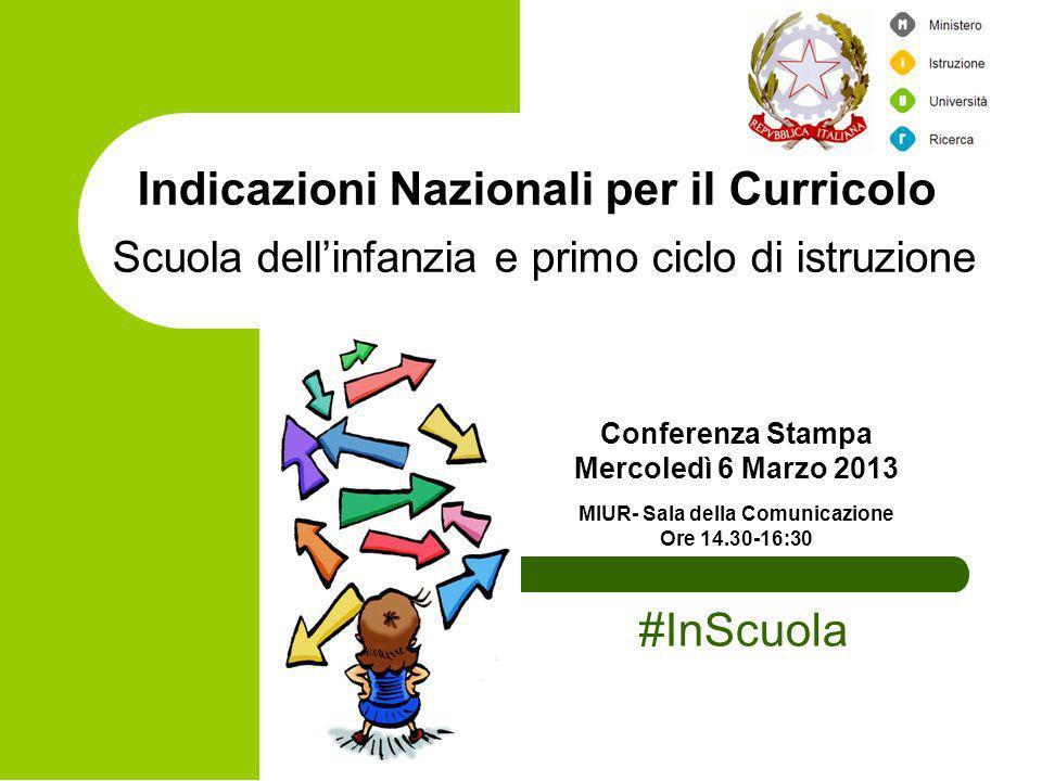 Indicazioni Nazionali per il Curricolo Scuola dellinfanzia e primo ciclo di istruzione Conferenza Stampa Mercoledì 6 Marzo 2013 MIUR- Sala della Comun