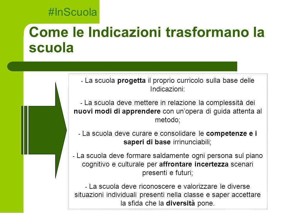 Come le Indicazioni trasformano la scuola #InScuola - La scuola progetta il proprio curricolo sulla base delle Indicazioni: - La scuola deve mettere i