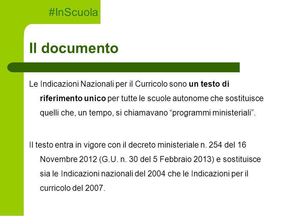 Il documento Le Indicazioni Nazionali per il Curricolo sono un testo di riferimento unico per tutte le scuole autonome che sostituisce quelli che, un