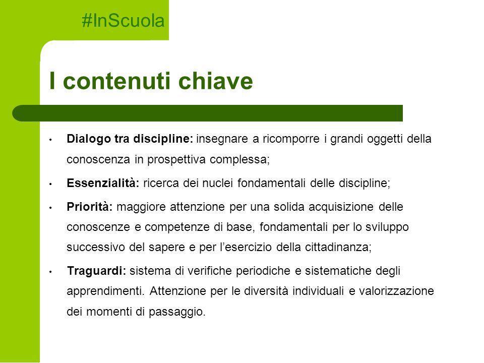 I contenuti chiave Dialogo tra discipline: insegnare a ricomporre i grandi oggetti della conoscenza in prospettiva complessa; Essenzialità: ricerca de
