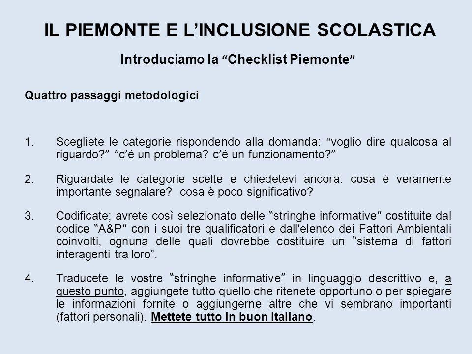 IL PIEMONTE E LINCLUSIONE SCOLASTICA Introduciamo la Checklist Piemonte Quattro passaggi metodologici 1.Scegliete le categorie rispondendo alla domand
