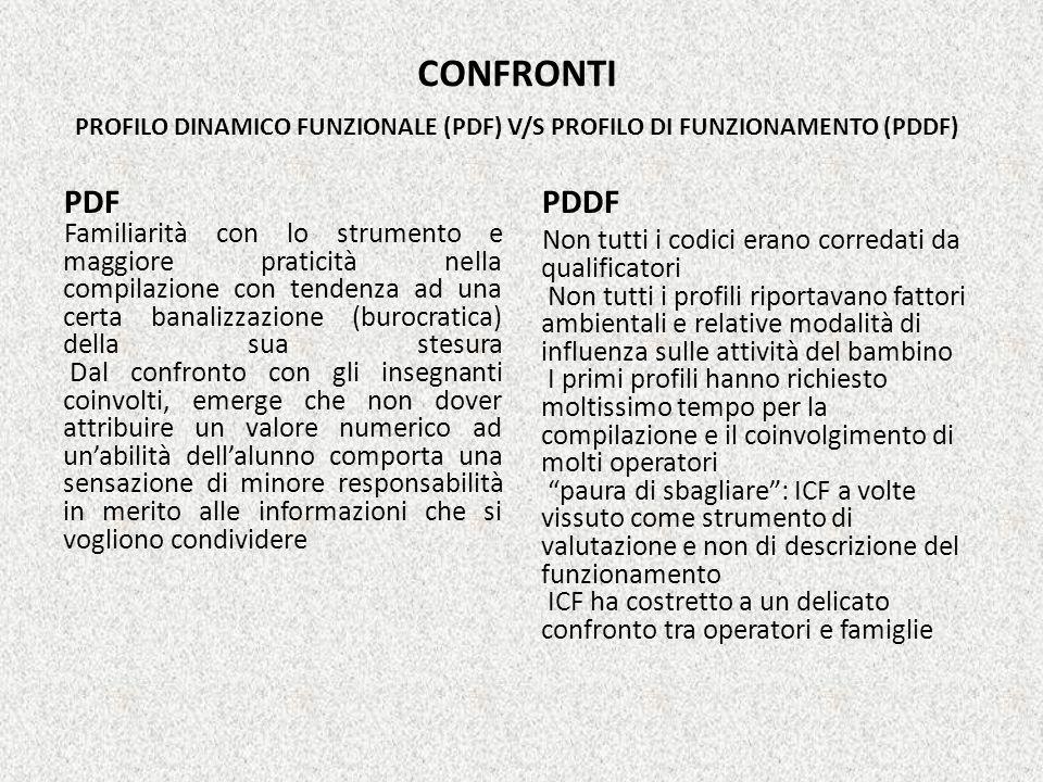 CONFRONTI PROFILO DINAMICO FUNZIONALE (PDF) V/S PROFILO DI FUNZIONAMENTO (PDDF) PDF Familiarità con lo strumento e maggiore praticità nella compilazio