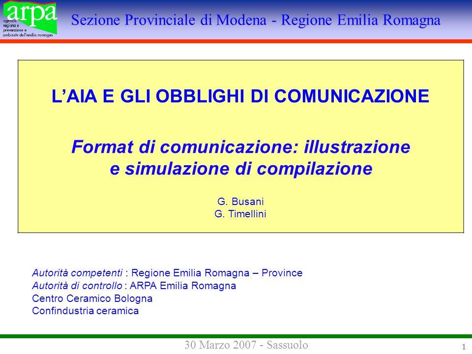 Sezione Provinciale di Modena - Regione Emilia Romagna 30 Marzo 2007 - Sassuolo 1 LAIA E GLI OBBLIGHI DI COMUNICAZIONE Format di comunicazione: illustrazione e simulazione di compilazione G.