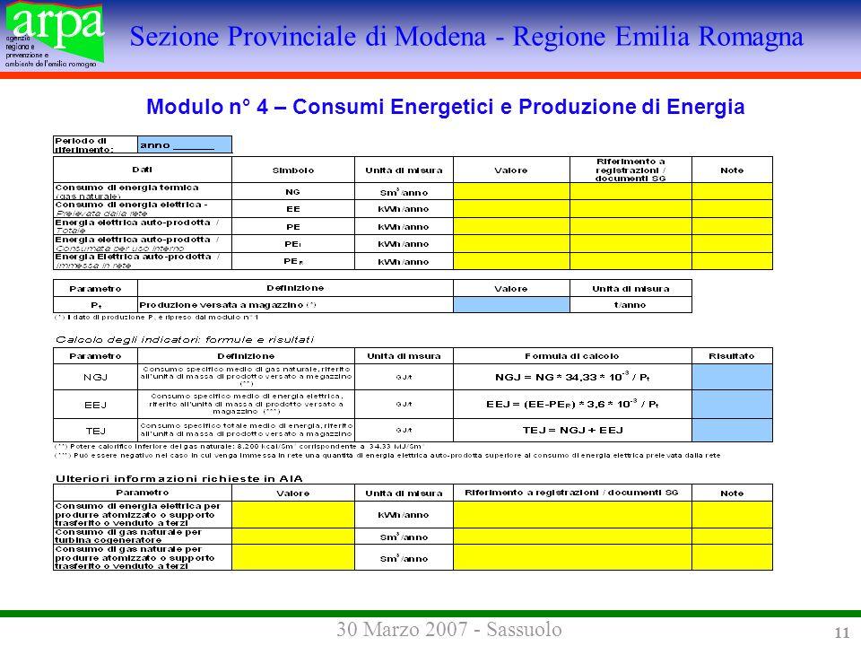 Sezione Provinciale di Modena - Regione Emilia Romagna 30 Marzo 2007 - Sassuolo 11 Modulo n° 4 – Consumi Energetici e Produzione di Energia