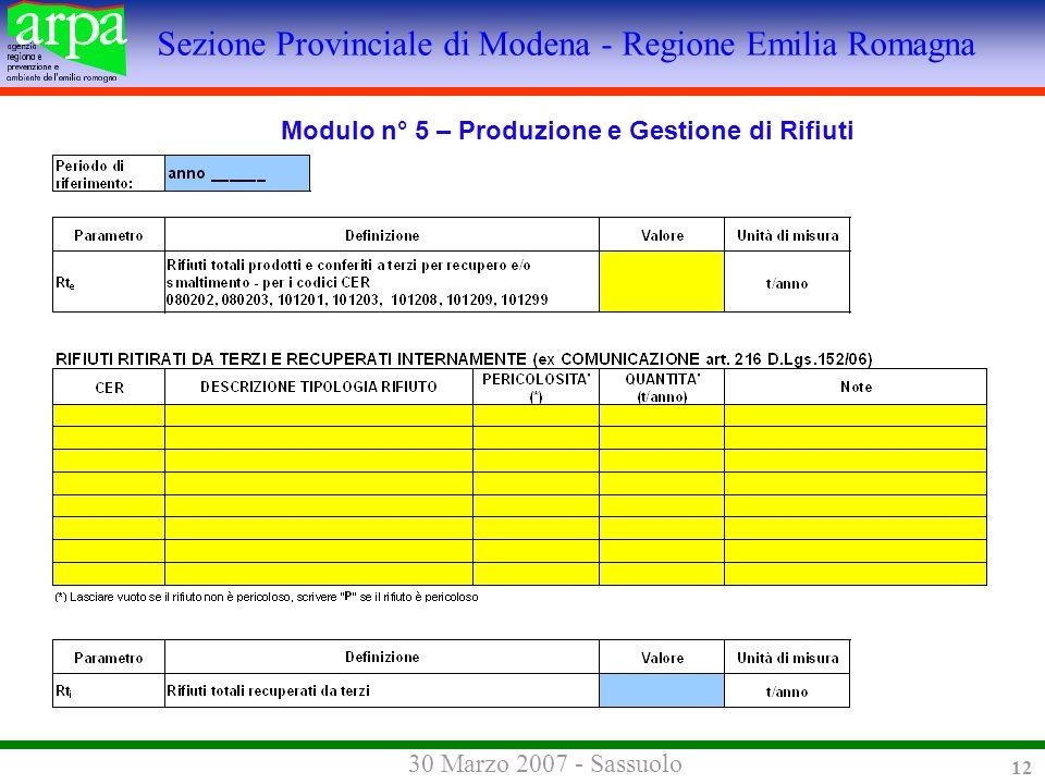 Sezione Provinciale di Modena - Regione Emilia Romagna 30 Marzo 2007 - Sassuolo 12 Modulo n° 5 – Produzione e Gestione di Rifiuti