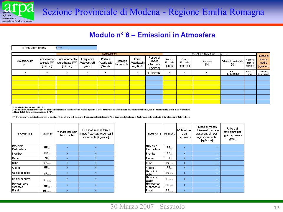 Sezione Provinciale di Modena - Regione Emilia Romagna 30 Marzo 2007 - Sassuolo 13 Modulo n° 6 – Emissioni in Atmosfera