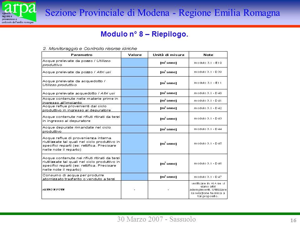 Sezione Provinciale di Modena - Regione Emilia Romagna 30 Marzo 2007 - Sassuolo 16 Modulo n° 8 – Riepilogo.