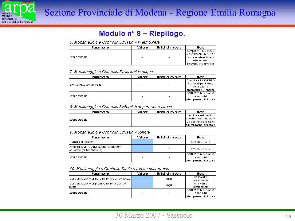 Sezione Provinciale di Modena - Regione Emilia Romagna 30 Marzo 2007 - Sassuolo 18 Modulo n° 8 – Riepilogo.