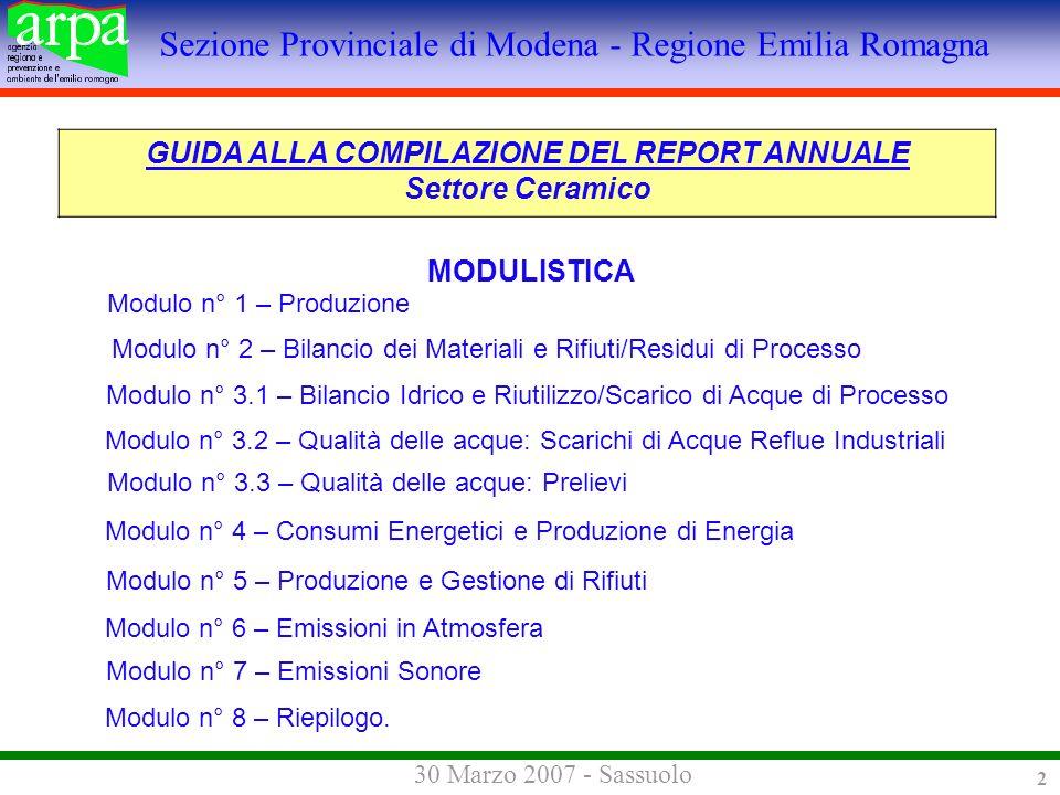 Sezione Provinciale di Modena - Regione Emilia Romagna 30 Marzo 2007 - Sassuolo 2 Modulo n° 2 – Bilancio dei Materiali e Rifiuti/Residui di Processo GUIDA ALLA COMPILAZIONE DEL REPORT ANNUALE Settore Ceramico MODULISTICA Modulo n° 1 – Produzione Modulo n° 3.1 – Bilancio Idrico e Riutilizzo/Scarico di Acque di Processo Modulo n° 3.2 – Qualità delle acque: Scarichi di Acque Reflue Industriali Modulo n° 3.3 – Qualità delle acque: Prelievi Modulo n° 4 – Consumi Energetici e Produzione di Energia Modulo n° 5 – Produzione e Gestione di Rifiuti Modulo n° 6 – Emissioni in Atmosfera Modulo n° 7 – Emissioni Sonore Modulo n° 8 – Riepilogo.