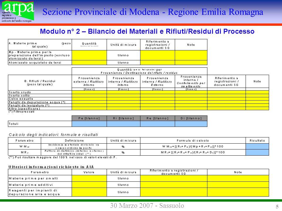 Sezione Provinciale di Modena - Regione Emilia Romagna 30 Marzo 2007 - Sassuolo 5 Modulo n° 2 – Bilancio dei Materiali e Rifiuti/Residui di Processo