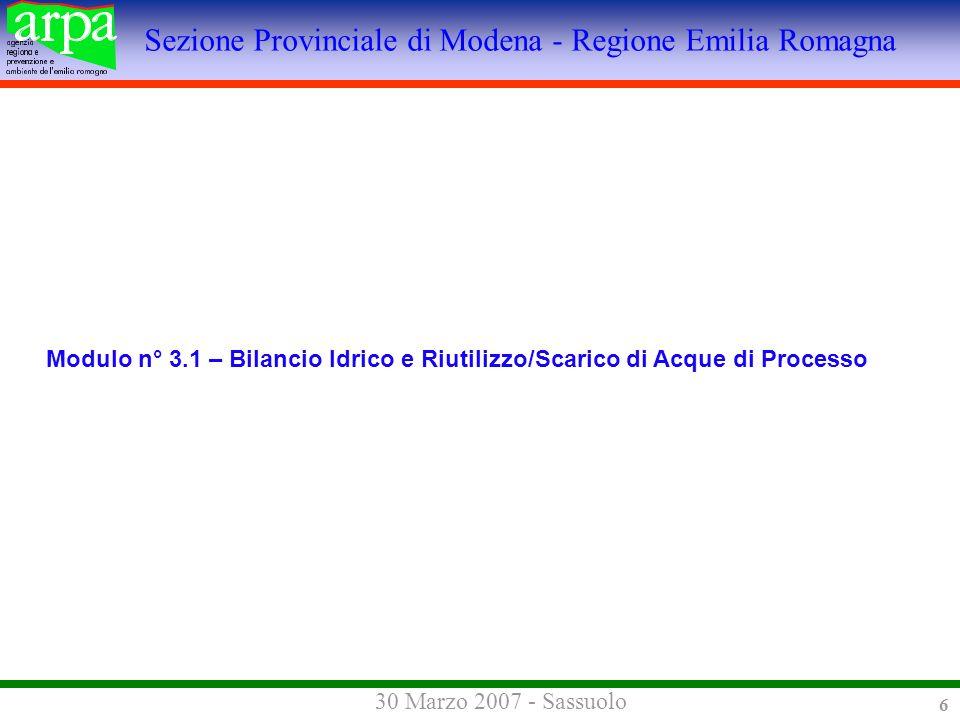 Sezione Provinciale di Modena - Regione Emilia Romagna 30 Marzo 2007 - Sassuolo 6 Modulo n° 3.1 – Bilancio Idrico e Riutilizzo/Scarico di Acque di Processo