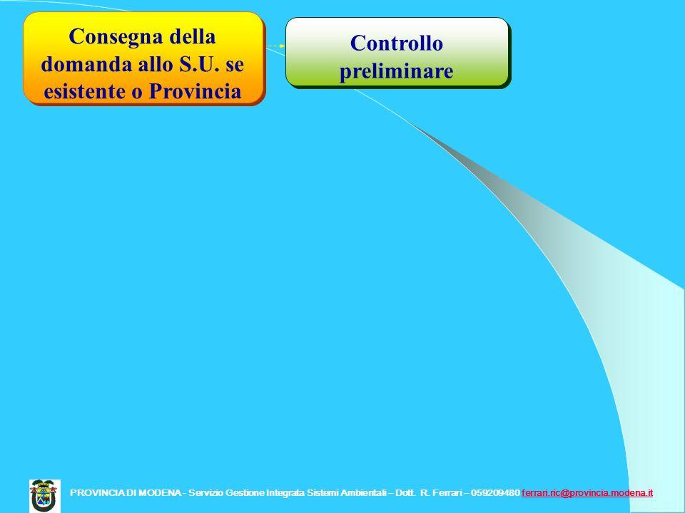 Controllo preliminare Consegna della domanda allo S.U. se esistente o Provincia PROVINCIA DI MODENA - Servizio Gestione Integrata Sistemi Ambientali –