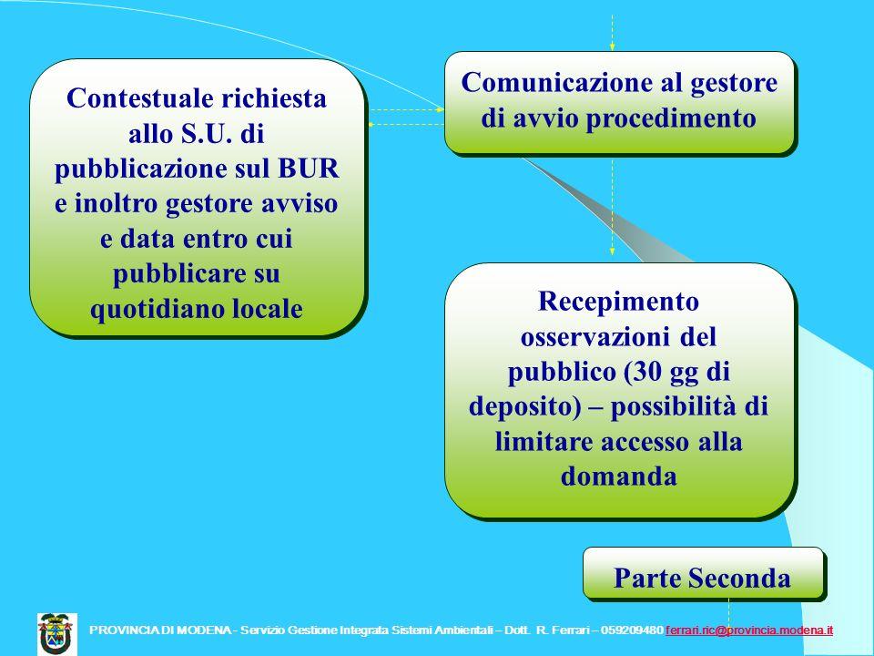 Comunicazione al gestore di avvio procedimento Contestuale richiesta allo S.U. di pubblicazione sul BUR e inoltro gestore avviso e data entro cui pubb