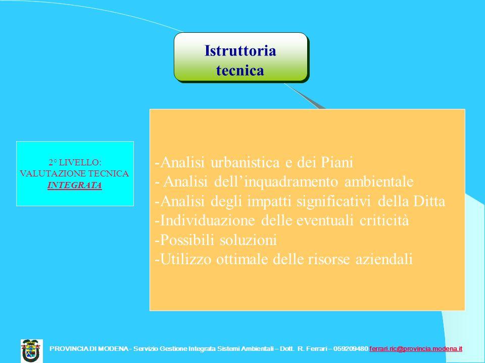 Istruttoria tecnica PROVINCIA DI MODENA - Servizio Gestione Integrata Sistemi Ambientali – Dott. R. Ferrari – 059209480 ferrari.ric@provincia.modena.i
