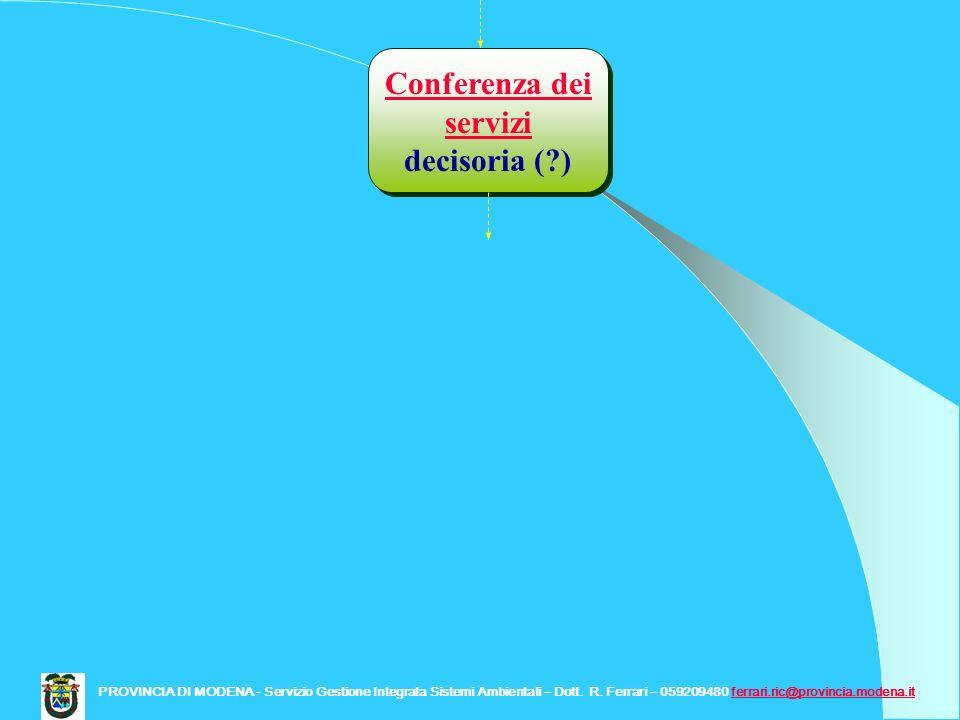 Conferenza dei servizi decisoria (?) Conferenza dei servizi decisoria (?) PROVINCIA DI MODENA - Servizio Gestione Integrata Sistemi Ambientali – Dott.