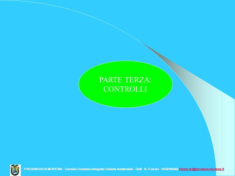PARTE TERZA: CONTROLLI PROVINCIA DI MODENA - Servizio Gestione Integrata Sistemi Ambientali – Dott. R. Ferrari – 059209480 ferrari.ric@provincia.moden