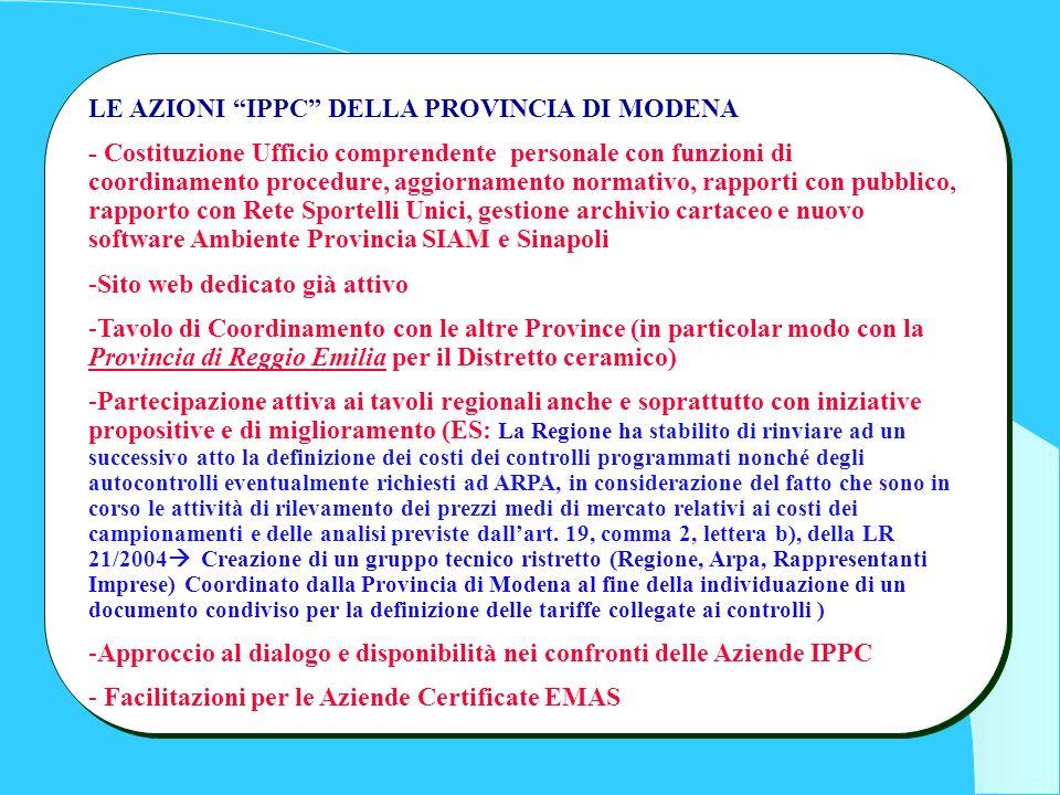 LE AZIONI IPPC DELLA PROVINCIA DI MODENA - Costituzione Ufficio comprendente personale con funzioni di coordinamento procedure, aggiornamento normativ