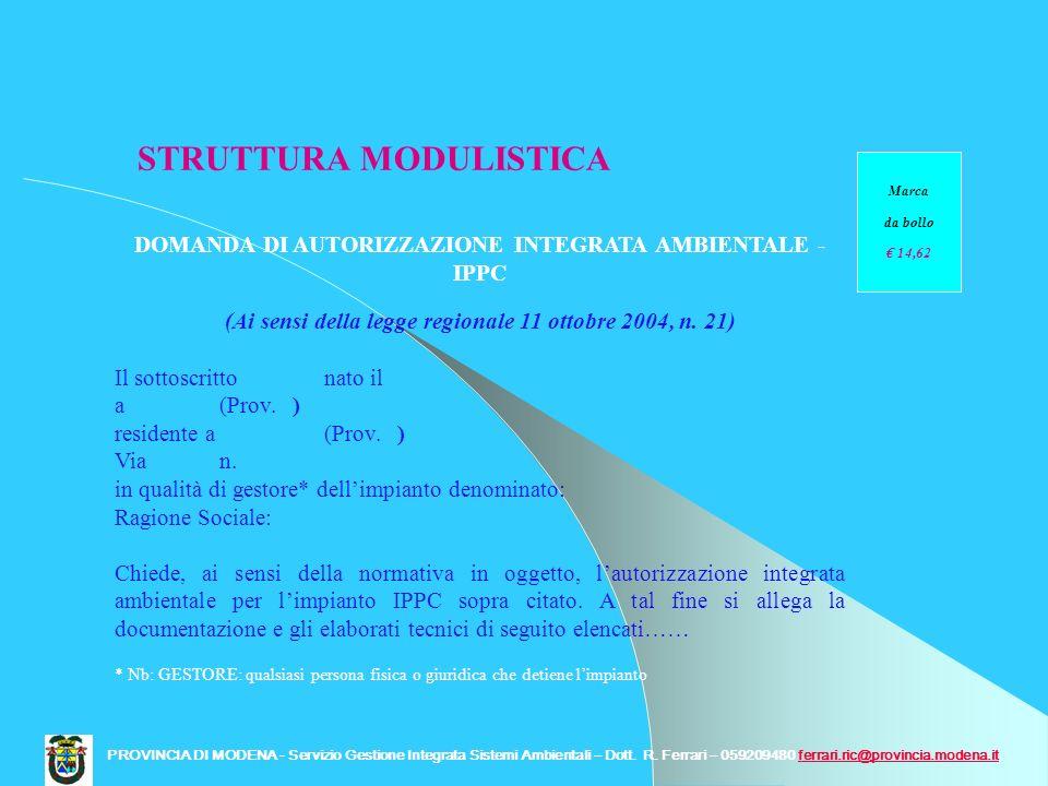 STRUTTURA MODULISTICA DOMANDA DI AUTORIZZAZIONE INTEGRATA AMBIENTALE - IPPC (Ai sensi della legge regionale 11 ottobre 2004, n. 21) Il sottoscritto na