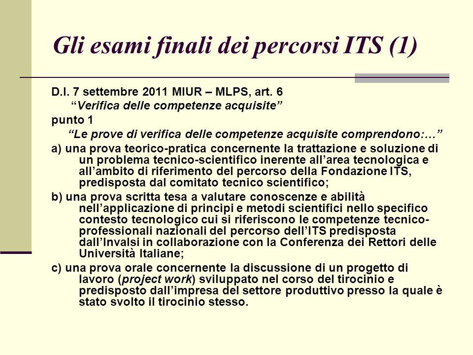 Gli esami finali dei percorsi ITS (1) D.I. 7 settembre 2011 MIUR – MLPS, art.