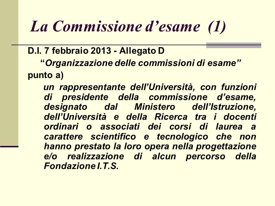 La Commissione desame (1) D.I.