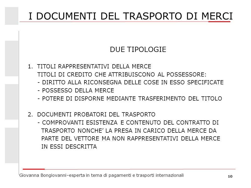 10 Giovanna Bongiovanni–esperta in tema di pagamenti e trasporti internazionali I DOCUMENTI DEL TRASPORTO DI MERCI DUE TIPOLOGIE 1.TITOLI RAPPRESENTAT